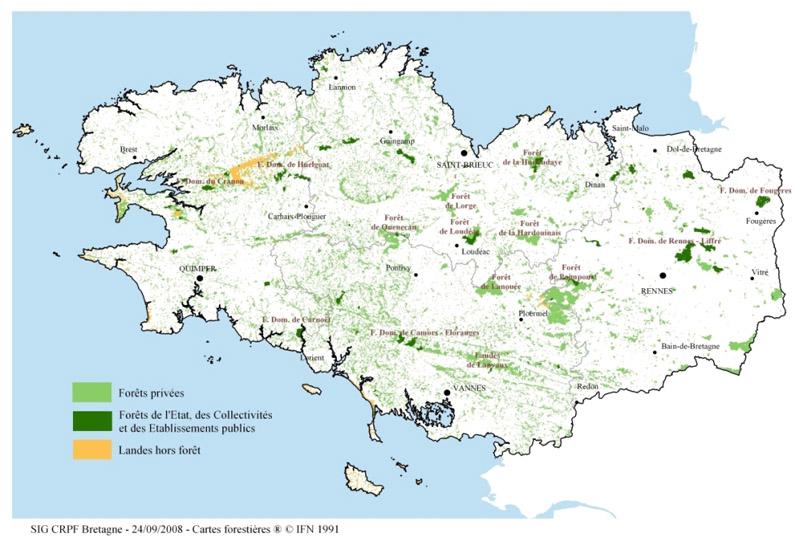 Carte Foret Bretagne.Focus La Region Bretagne Observatoire De La Biodiversite