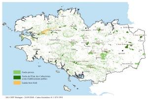 Cartographie des massifs forestiers en Bretagne